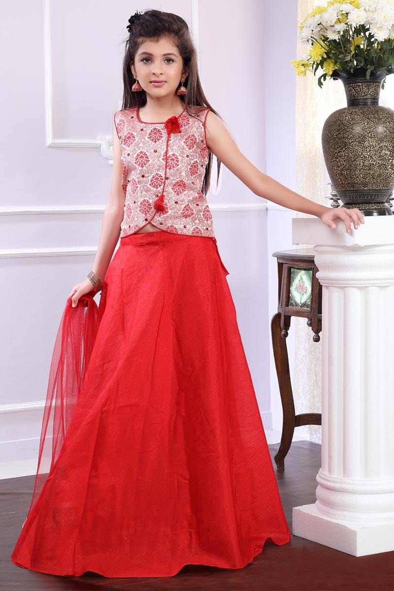 Embellished Fancy Girls Lehenga Choli In Brocade Red Color