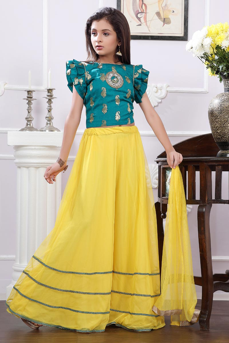 Brocade Designer Yellow Color Girls Lehenga For Functions