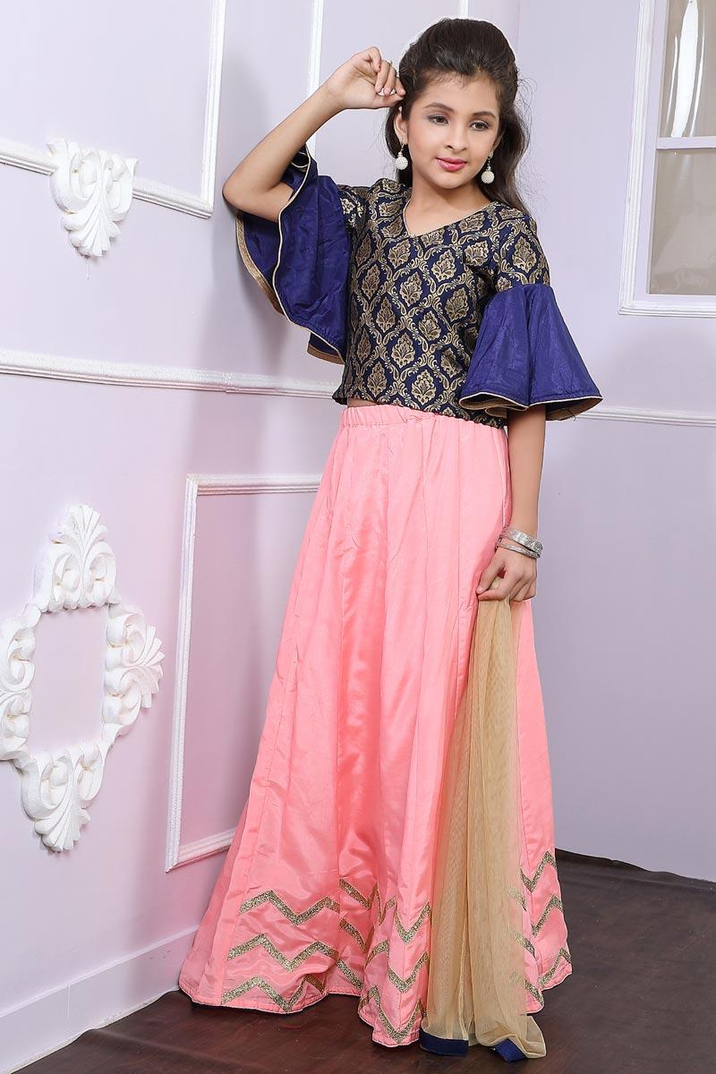 Embellished Fancy Girls Lehenga Choli In Pink Brocade Fabric