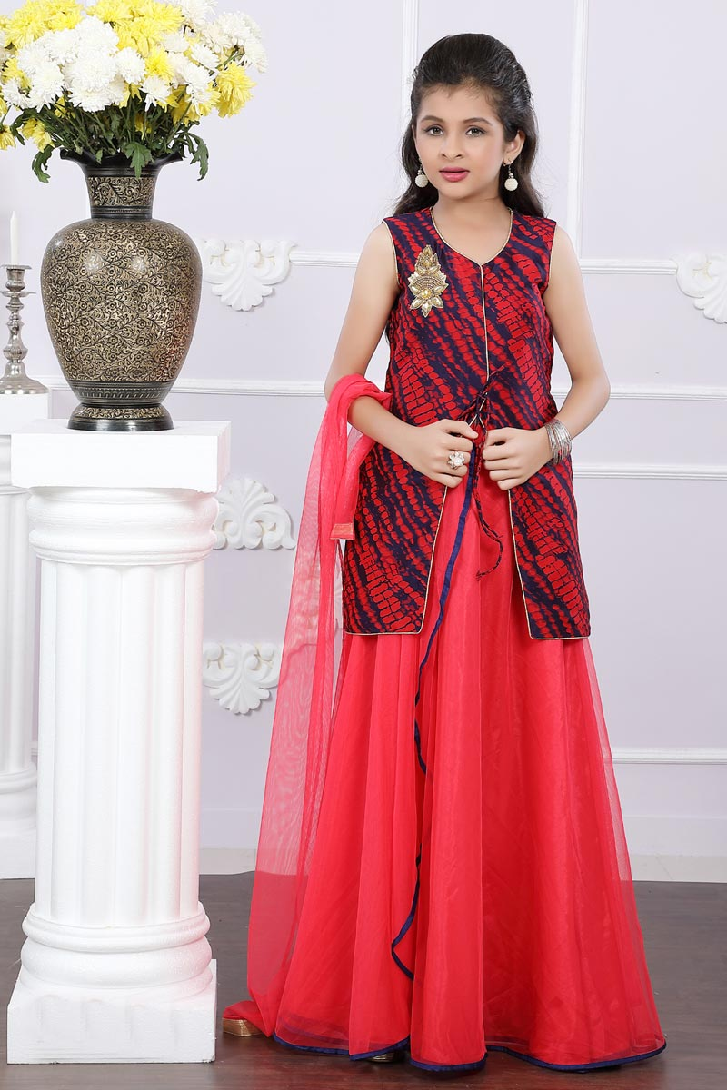 Function Wear Art Silk Red Designer Lehenga Choli For Girls