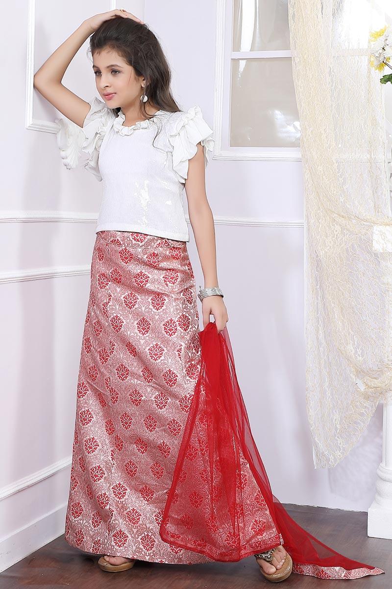 Embellished Fancy Girls Lehenga Choli In Georgette Pink Color