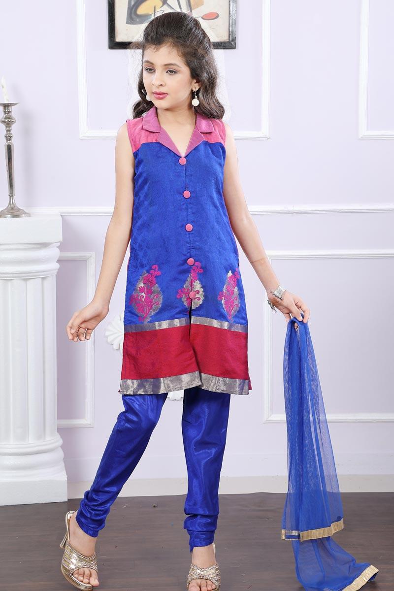 Party Style Embellished Fancy Girls Designer Suit In Brocade Blue Color