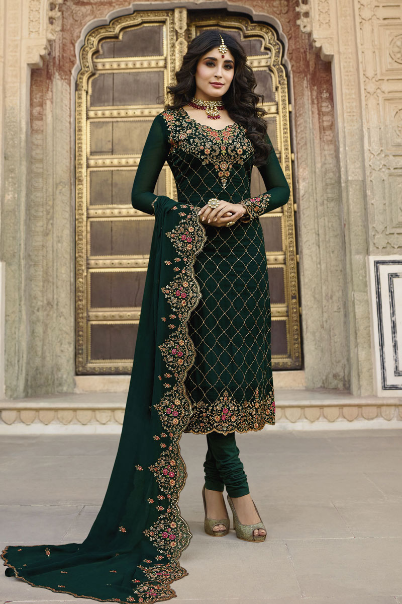 Kritika Kamra Featuring Straight Cut Salwar Suit In Georgette Satin Fabric Dark Green Color With Embroidery Work