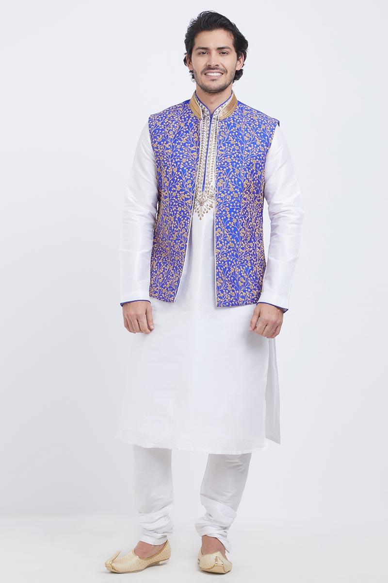 Function Wear White Embroidery Work Kurta Pyjama In Art Silk Fabric For Men With Fancy Jacket