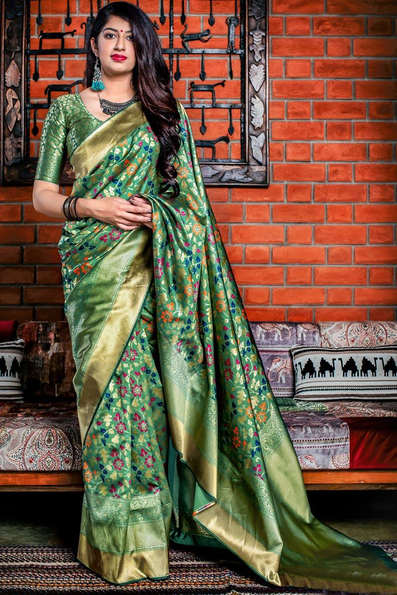 Designer Party Wear Green Fancy Saree In Art Silk With Weaving Work