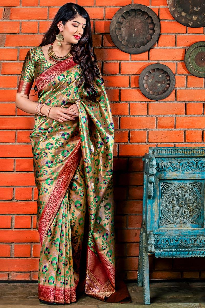 Beige Fancy Designer Party Style Art Silk Saree With Weaving Work