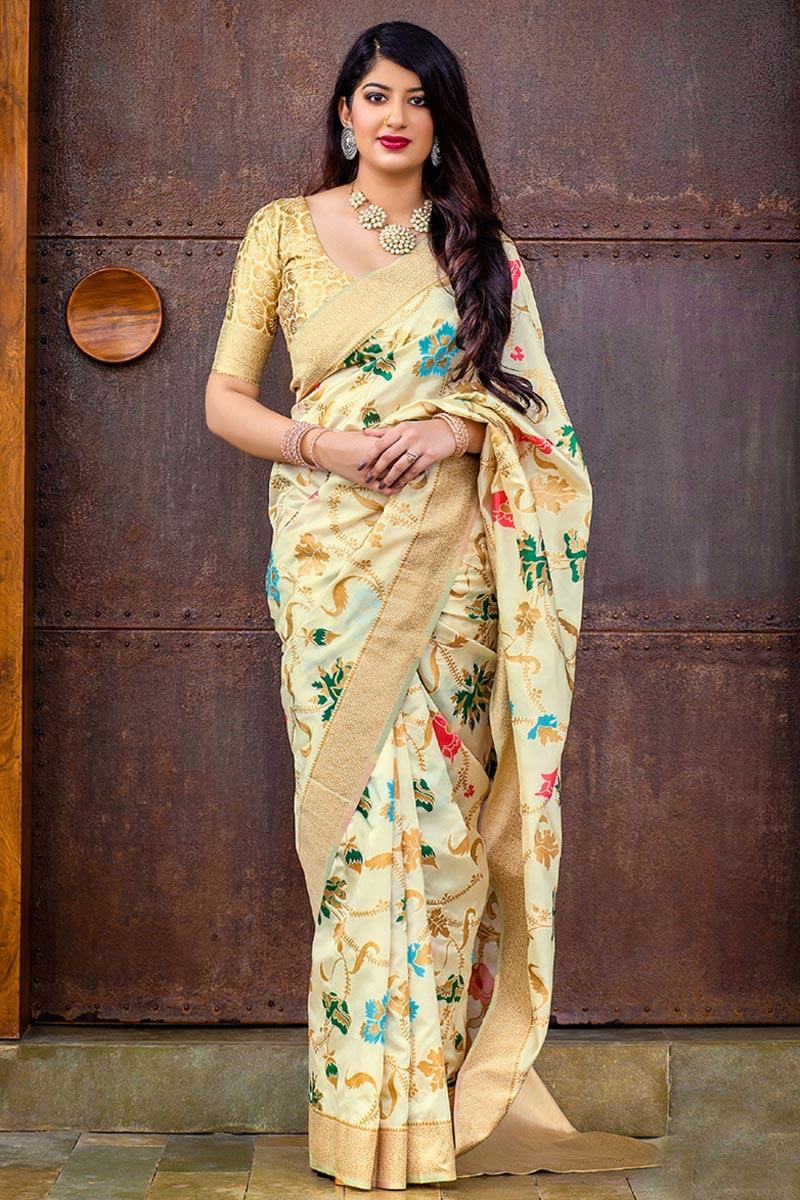 Party Wear Fancy Beige Designer Weaving Work Saree In Art Silk