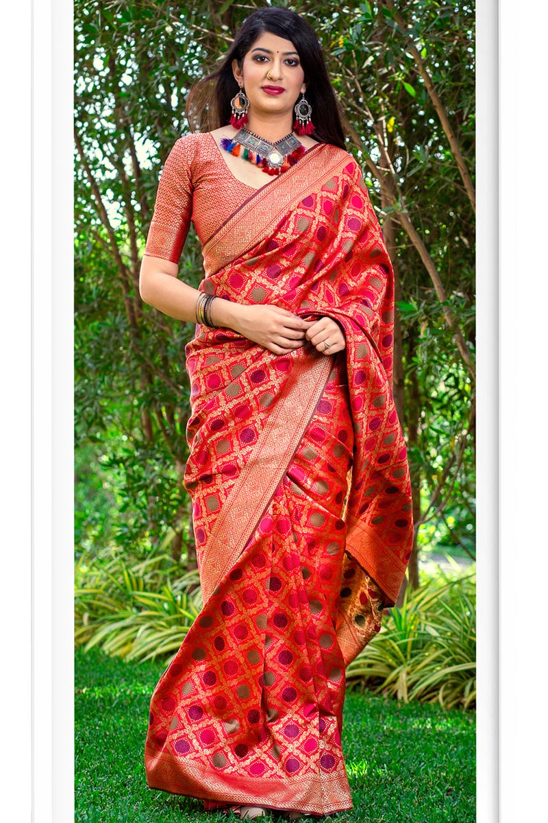 Party Wear Art Silk Designer Weaving Work Red Color Fancy Saree