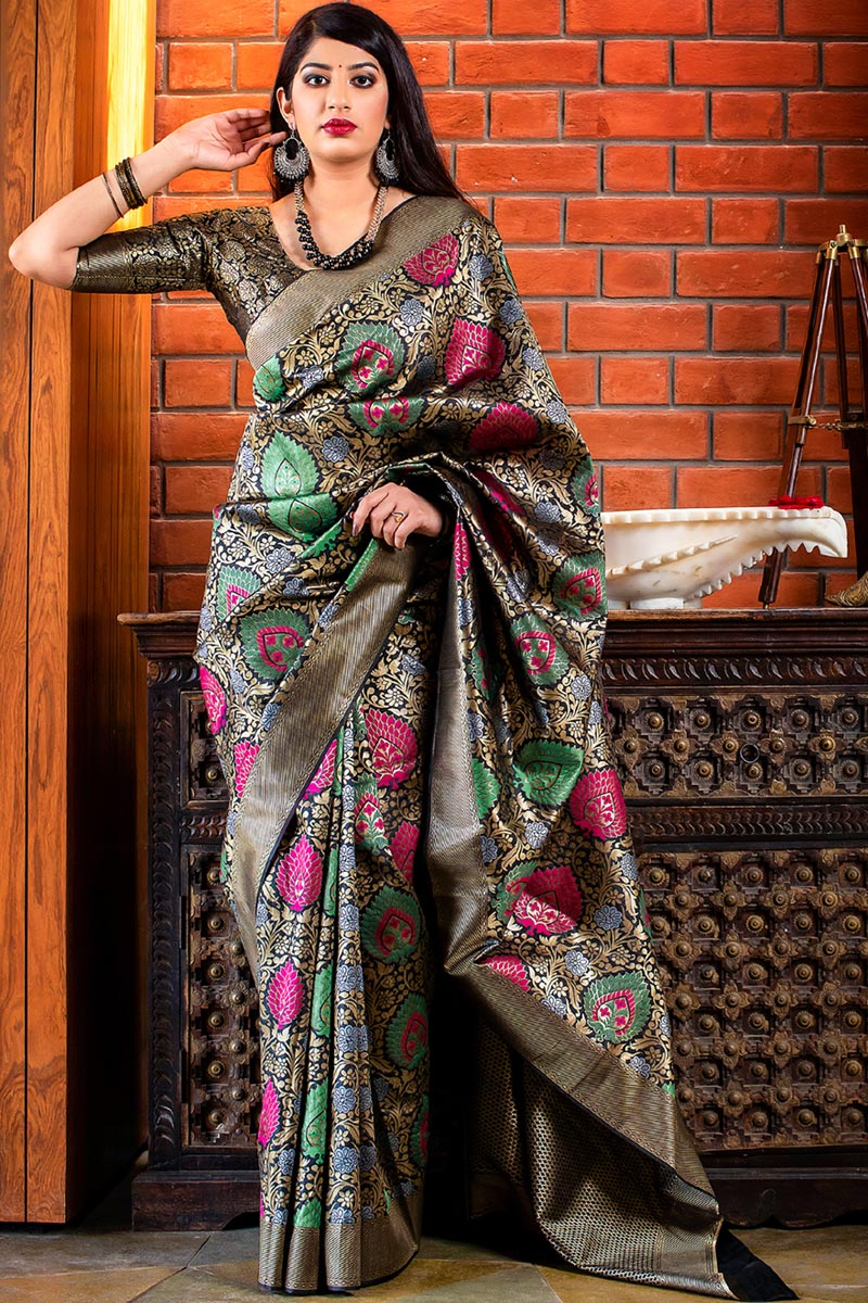 Black Art Silk Designer Party Wear Fancy Saree With Weaving Work