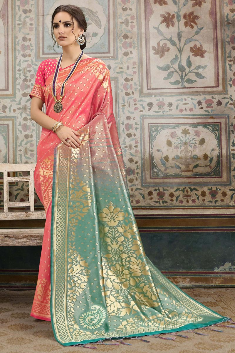 Festive Wear Peach Designer Weaving Work Art Silk Saree