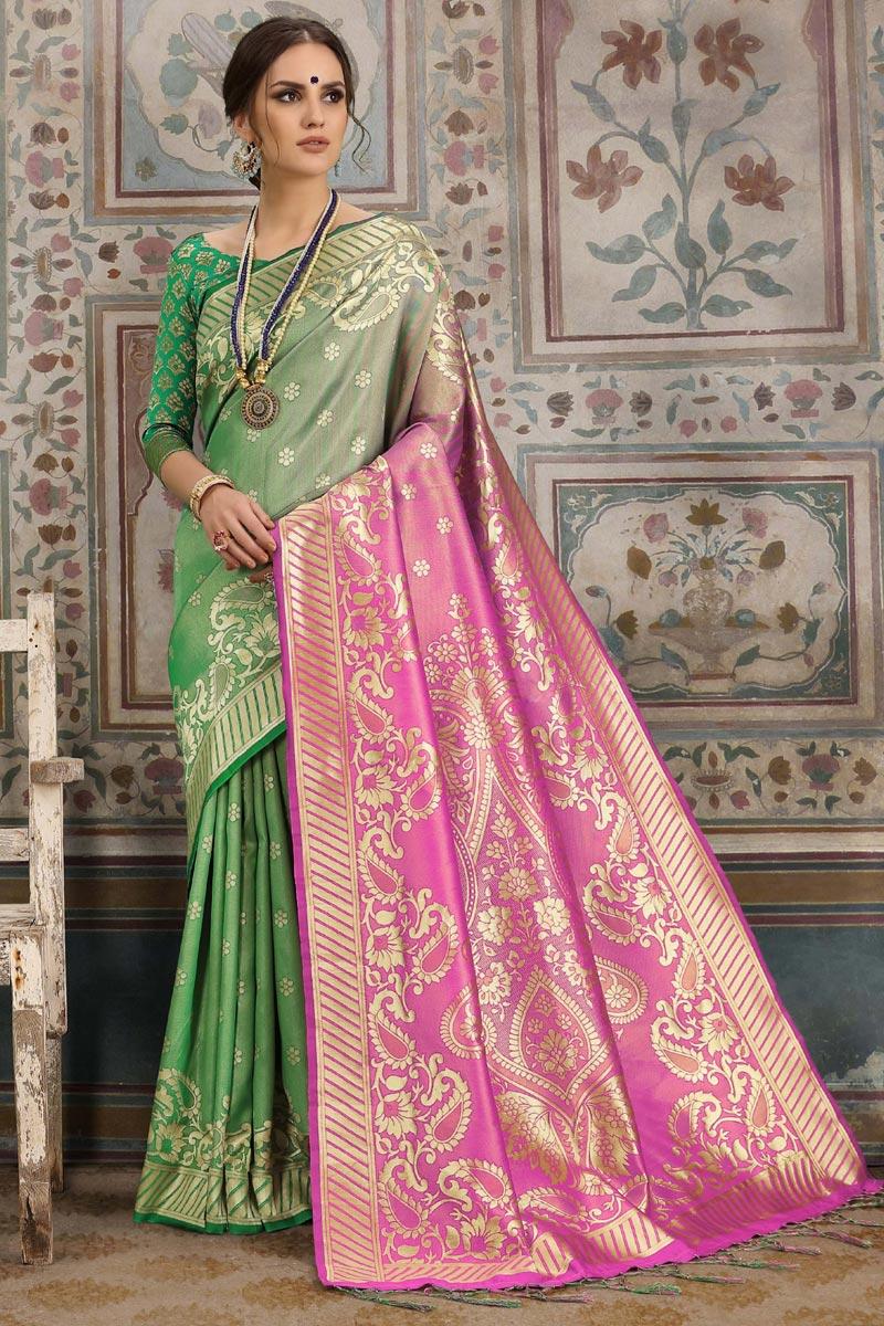 Art Silk Green Designer Festive Wear Saree With Weaving Work