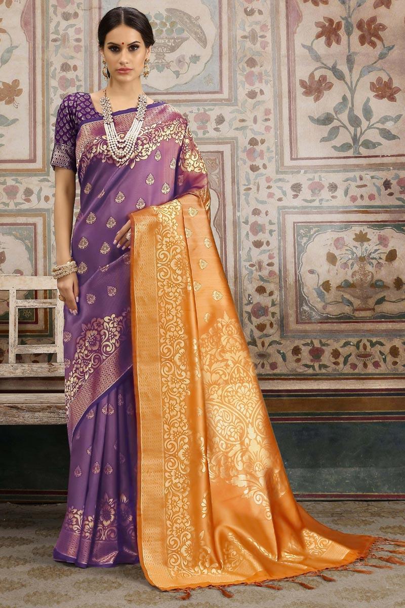 Art Silk Designer Festive Wear Purple Saree With Weaving Work