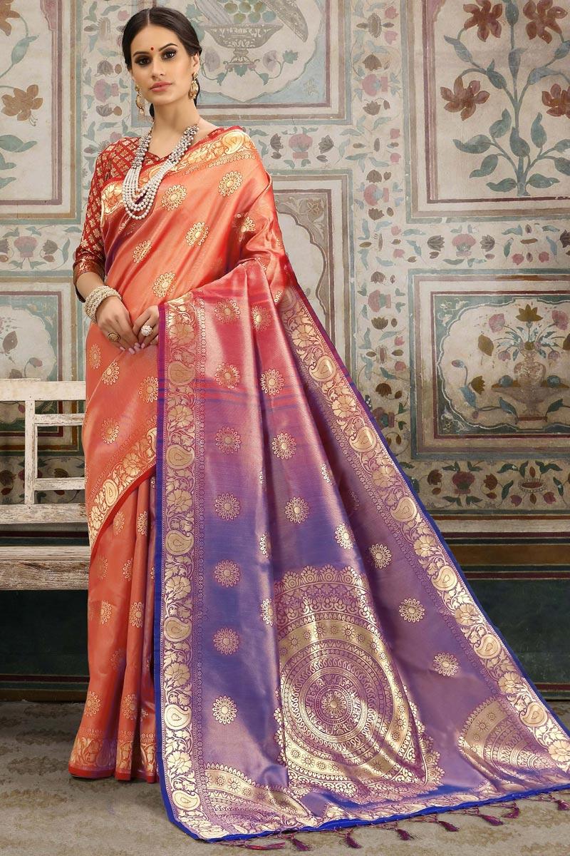 Designer Festive Wear Art Silk Saree In Peach With Weaving Work