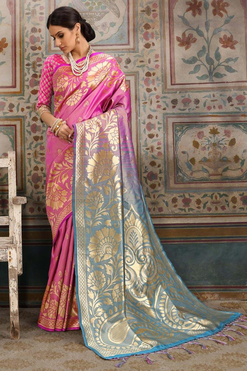 Art Silk Designer Festive Wear Pink Saree With Weaving Work