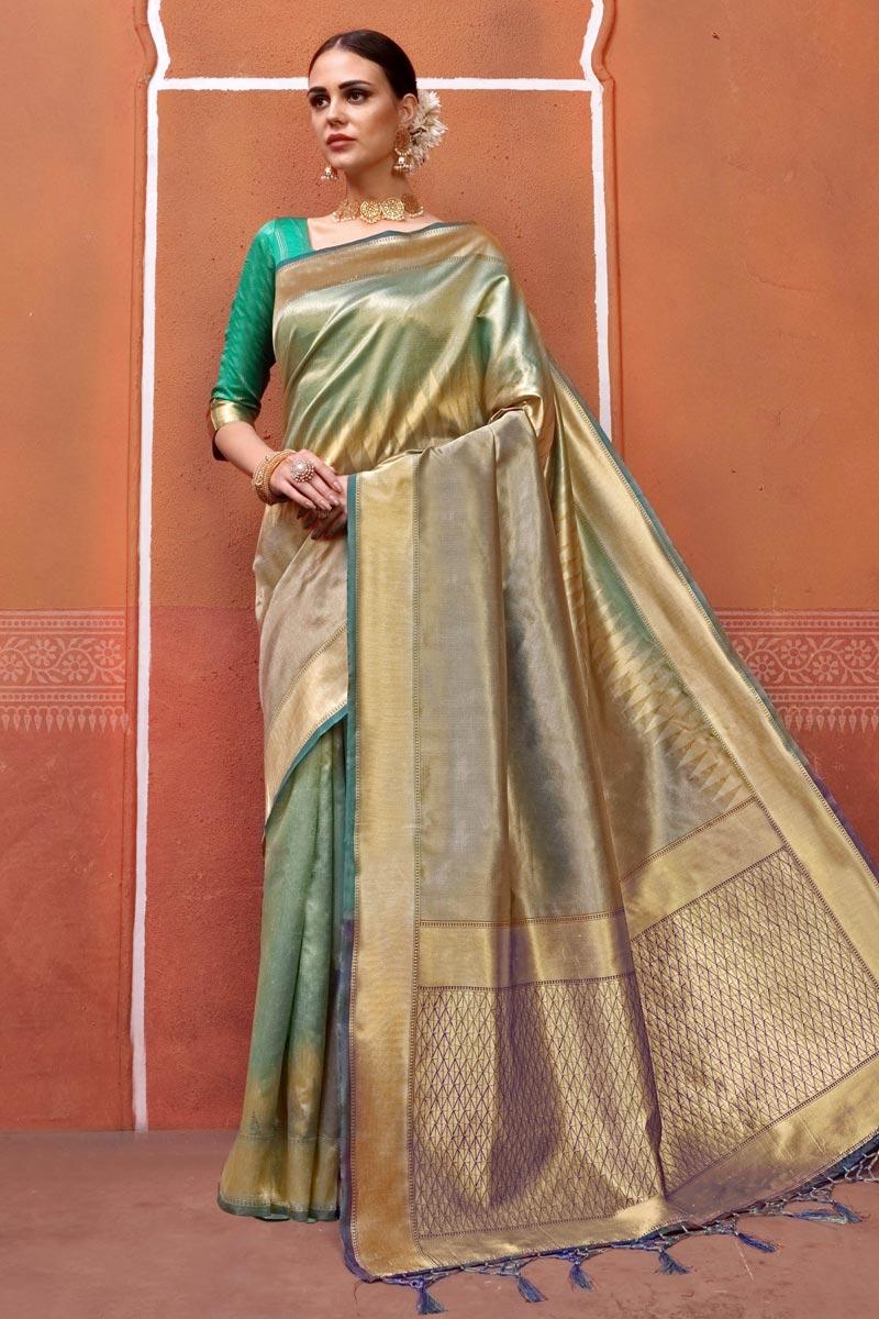 Art Silk Fabric Fancy Multi Color Designer Festive Wear Saree With Weaving Work