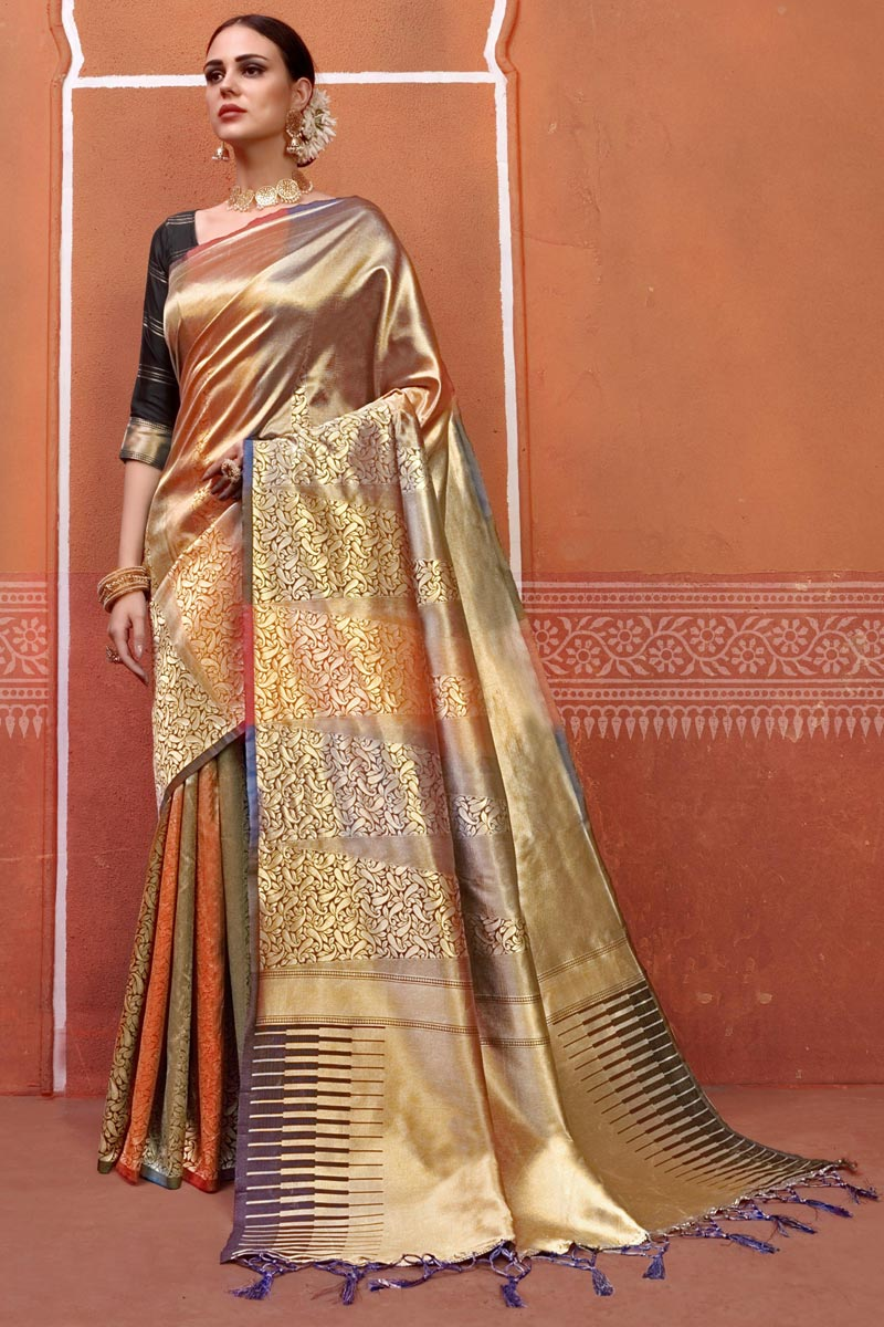 Multi Color Designer Festive Wear Art Silk Fabric Fancy Saree With Weaving Work