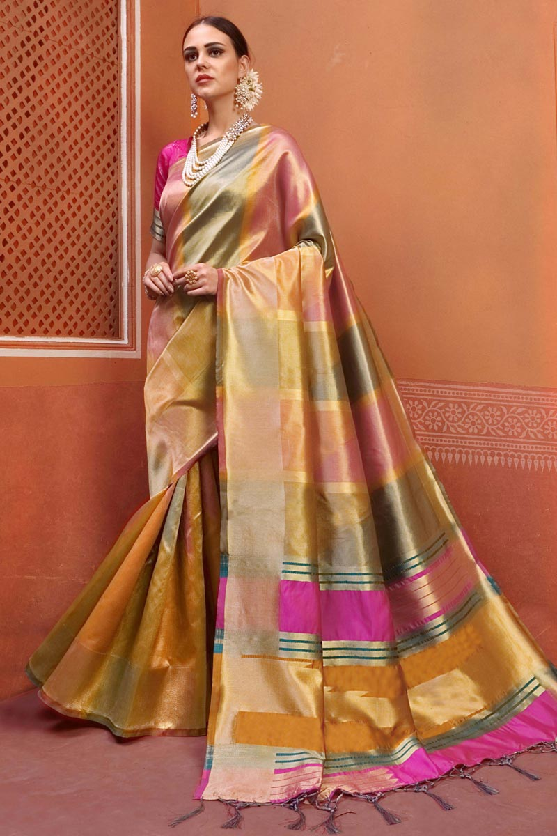 Fancy Festive Wear Art Silk Fabric Designer Weaving Work Saree In Multi Color