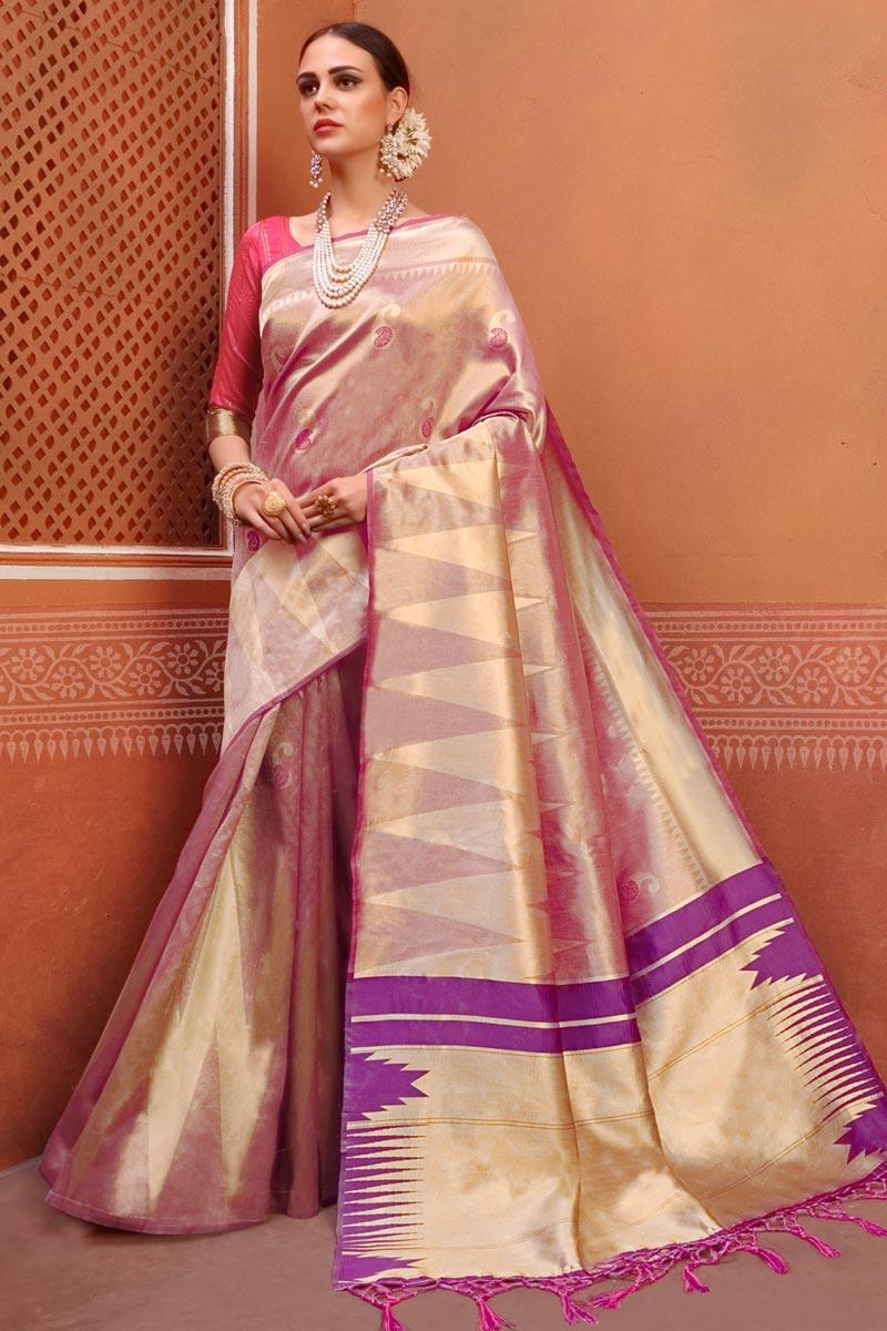 Multi Color Designer Festive Wear Fancy Art Silk Fabric Saree With Weaving Work