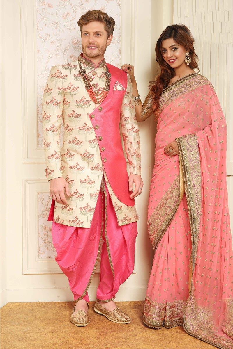 Jacquard Fabric Beige Function Wear Dhoti Style Indowestern Sherwani For Men