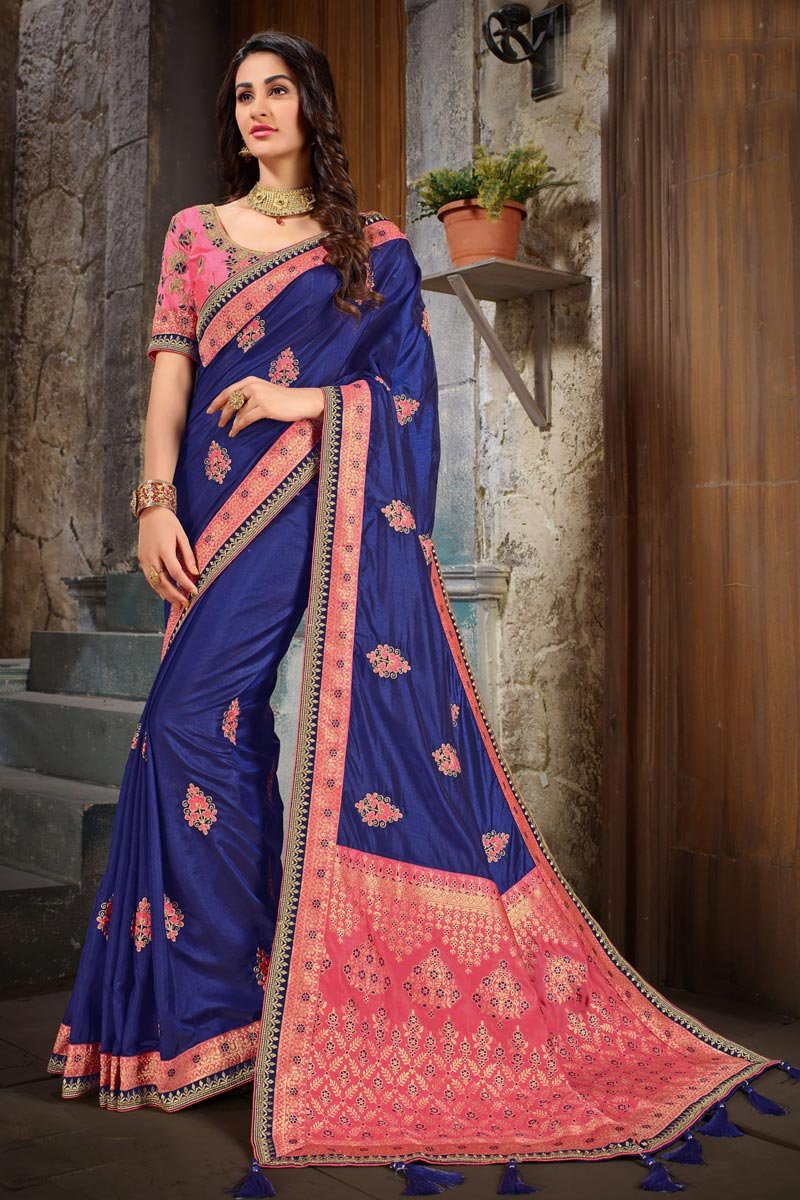 Blue Color Art Silk Fabric Wedding Wear Saree With Embroidery Work And Gorgeous Blouse