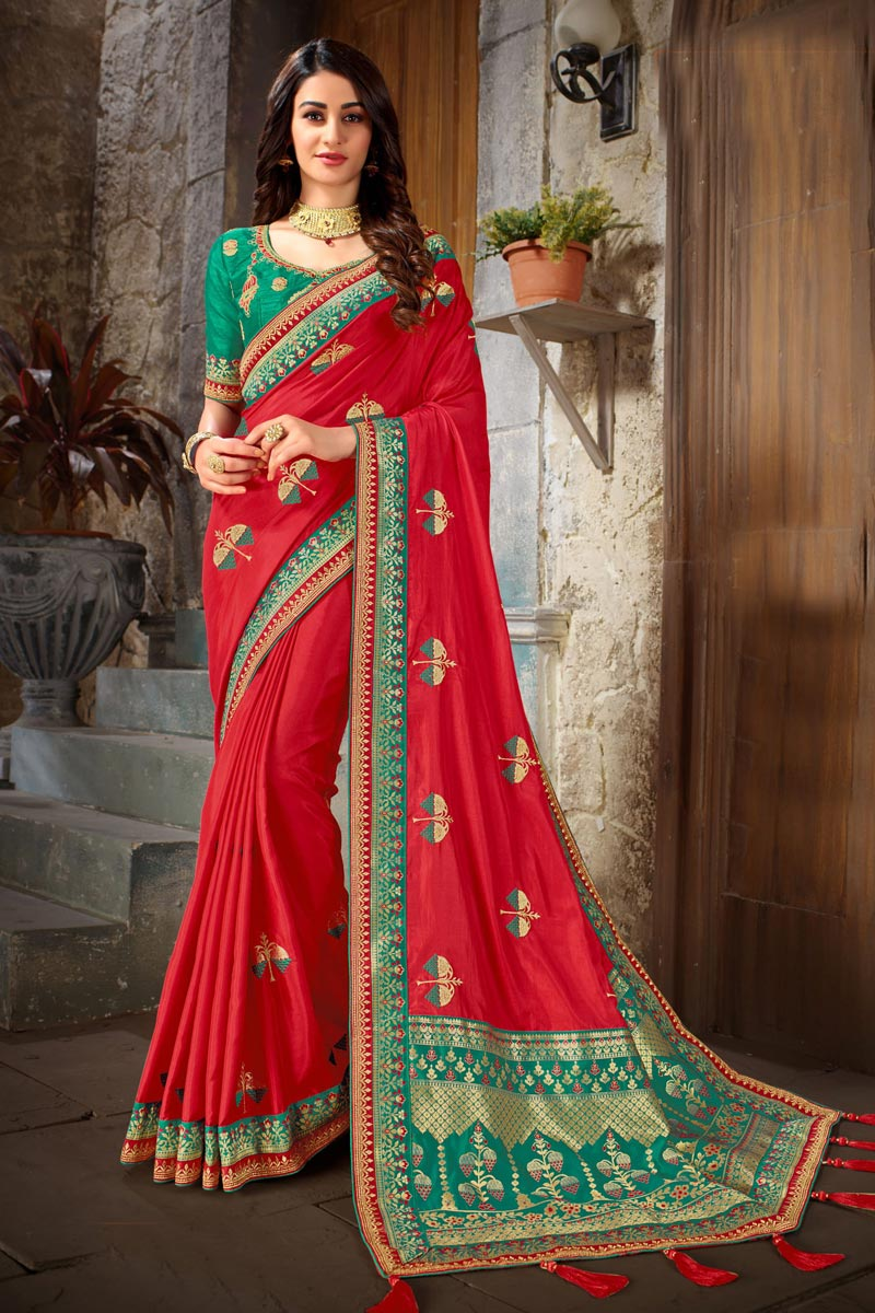 Embroidery Work On Reception Wear Saree In Art Silk Fabric Red Color With Charming Blouse