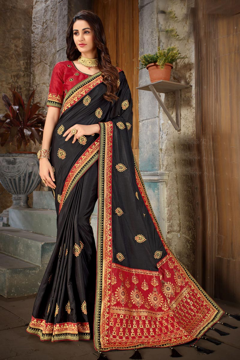 Embroidery Work On Black Color Designer Saree In Art Silk Fabric With Admirable Blouse
