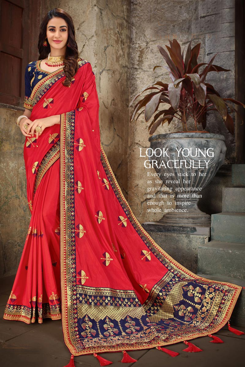 Art Silk Fabric Designer Embroidered Saree In Red Color With Attractive Blouse