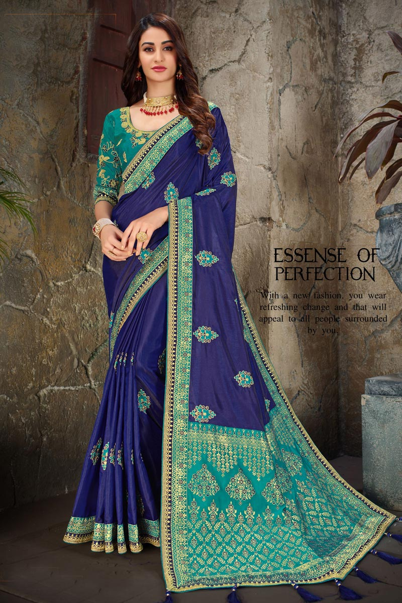 Navy Blue Color Party Wear Saree In Art Silk Fabric With Embroidery Work And Beautiful Blouse