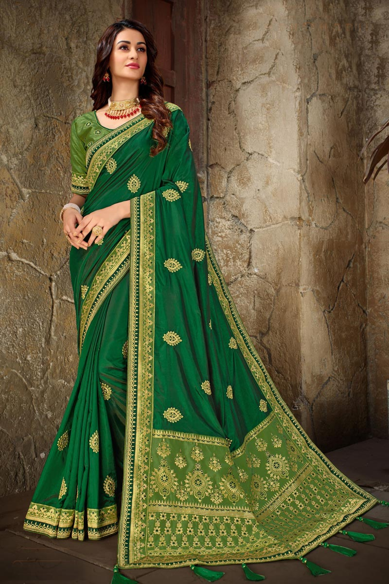 Art Silk Fabric Dark Green Color Festive Wear Saree With Embroidery Work And Attractive Blouse