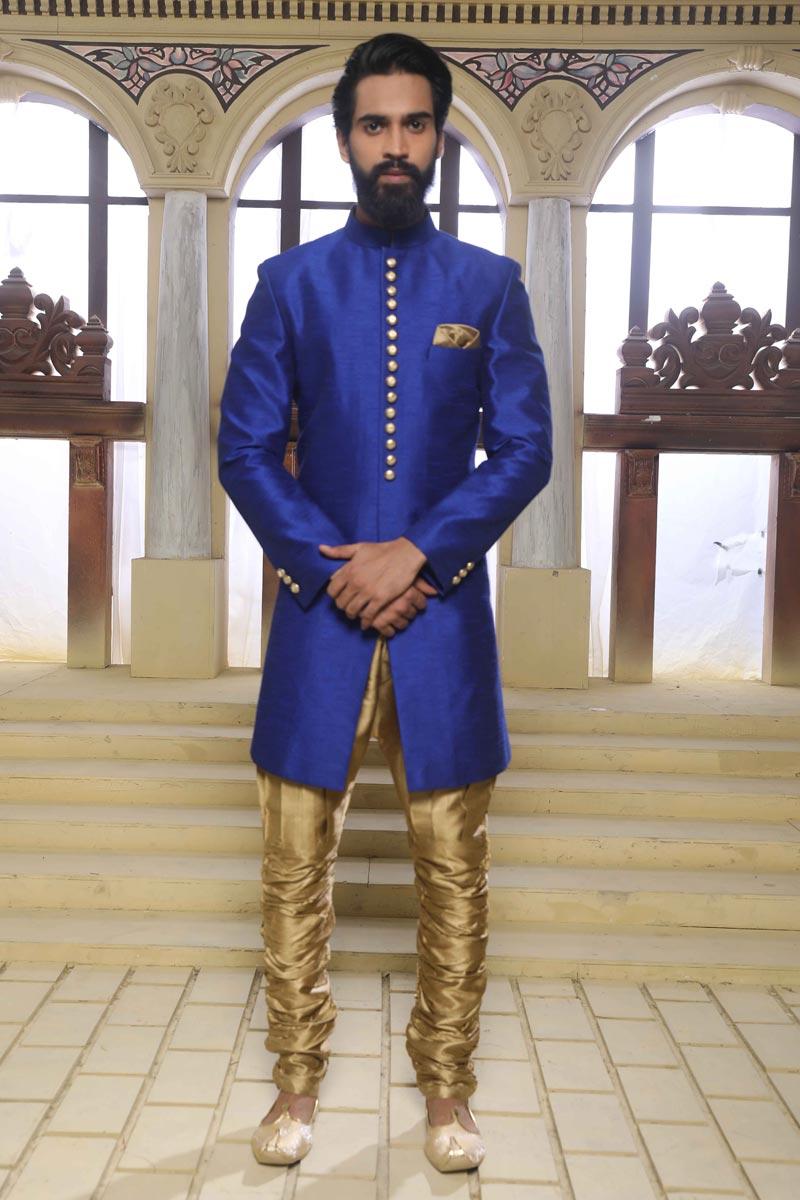 Wedding Wear Art Silk Fabric Mens Readymade Indowestern Sherwani In Blue Color