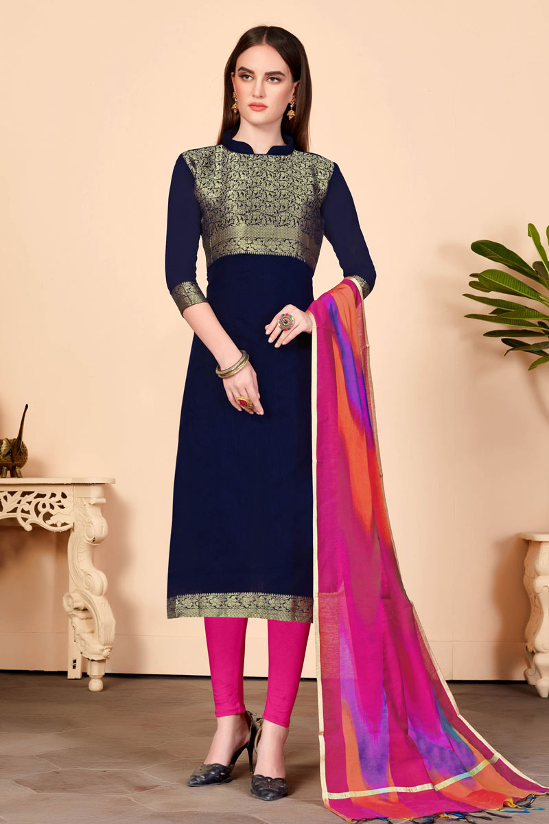 Fascinating Navy Blue Cotton Fabric Designer Straight Cut Salwar Suit With Excellent Weaving Work