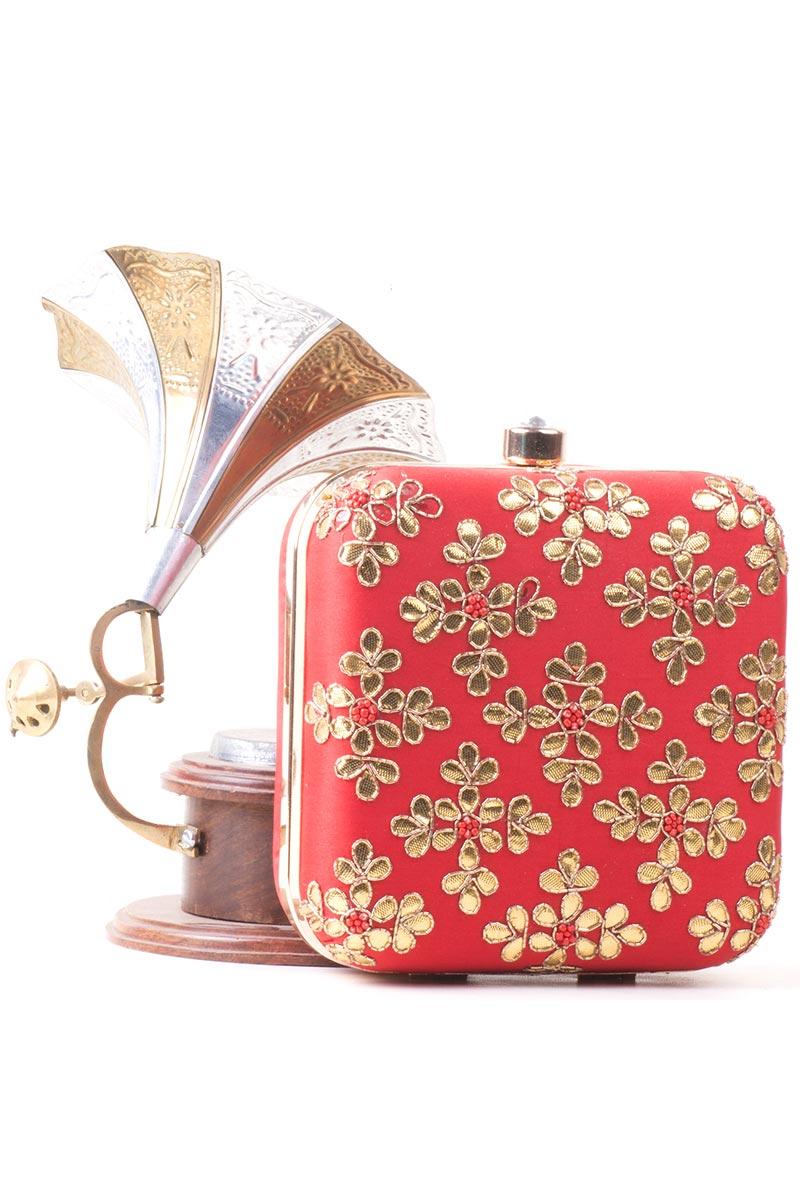 Red Designer Fancy Ethnic Box Clutch Purse