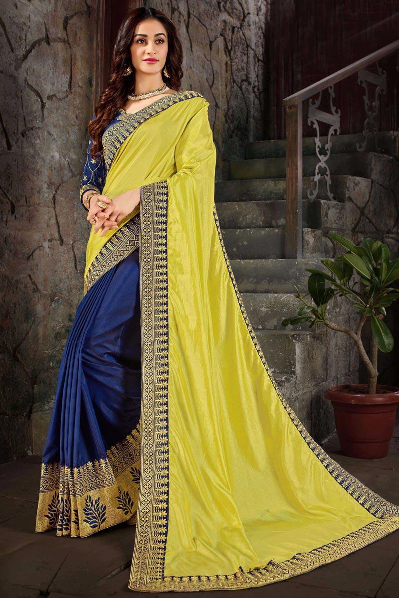 Festive Wear Designer Art Silk Fabric Fancy Embroidered Saree In Blue