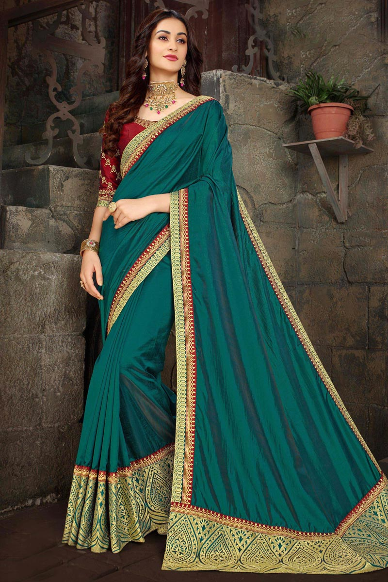Festive Wear Art Silk Fabric Fancy Teal Designer Embroidered Saree