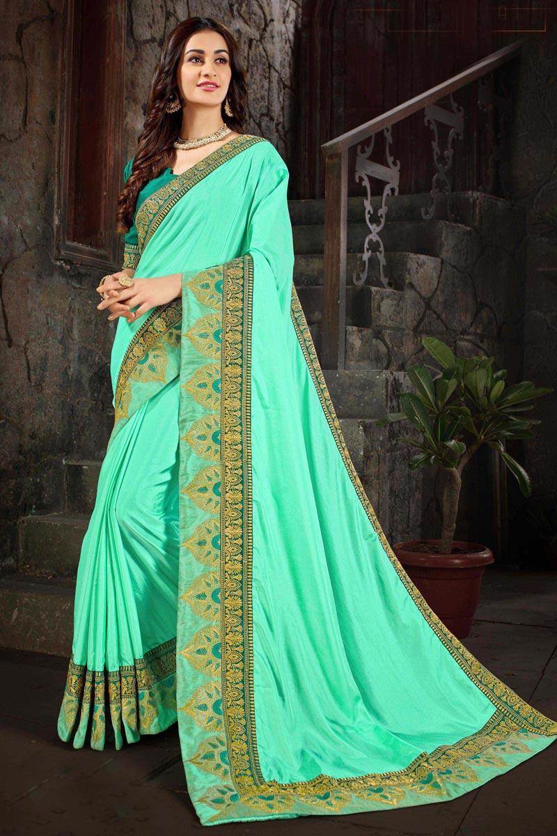 Festive Wear Designer Art Silk Fabric Fancy Embroidered Sea Green Saree