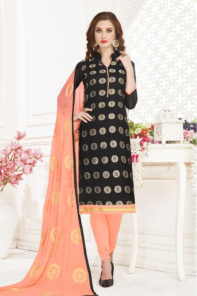 Occasion Wear Jacquard Fabric Weaving Work Straight Cut Salwar Kameez In Black