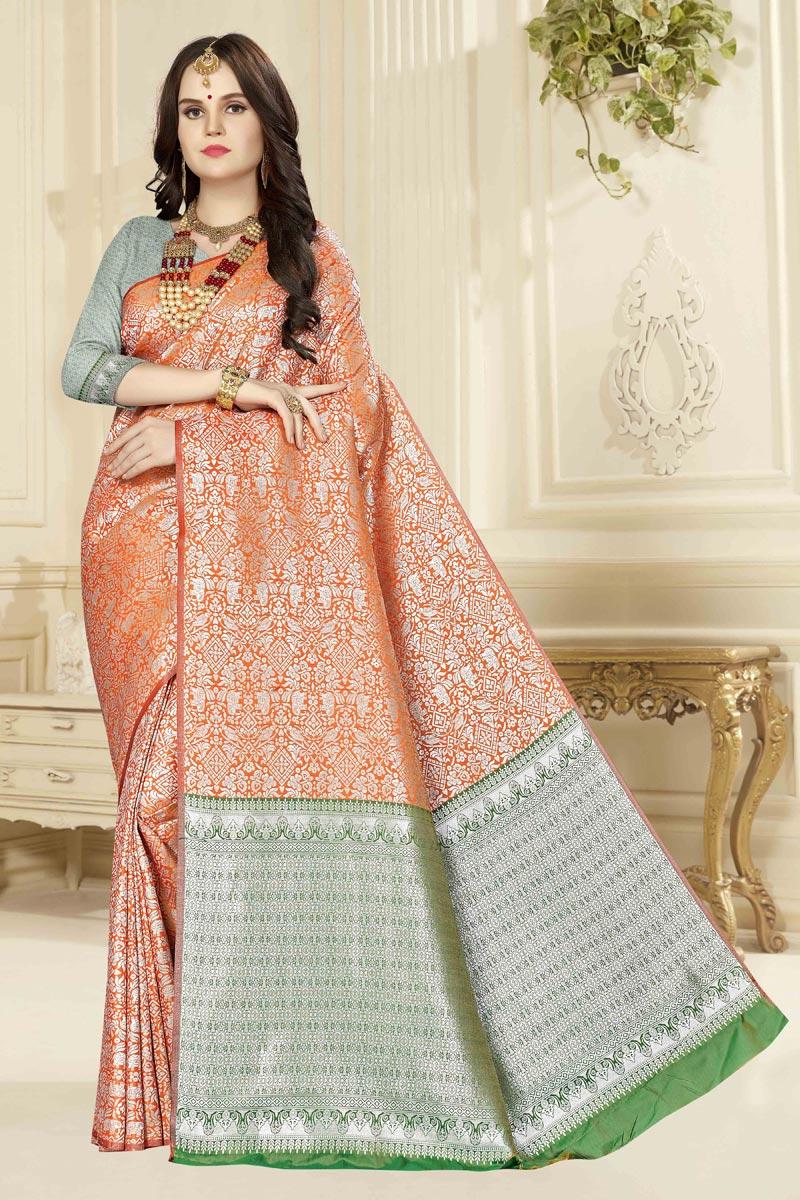 Weaving Work On Art Silk Fabric Classy Saree In Orange Color