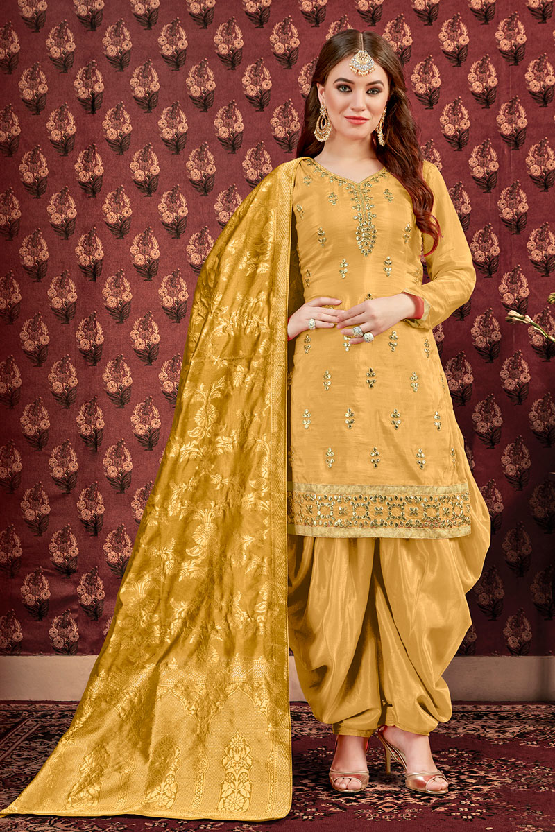 Embroidered Golden Viscose Fabric Function Wear Patiala Suit With Jacquard Dupatta