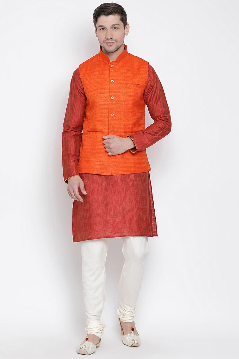 Cotton Fabric Red Function Wear Kurta Pyjama For Men With Modi Jacker