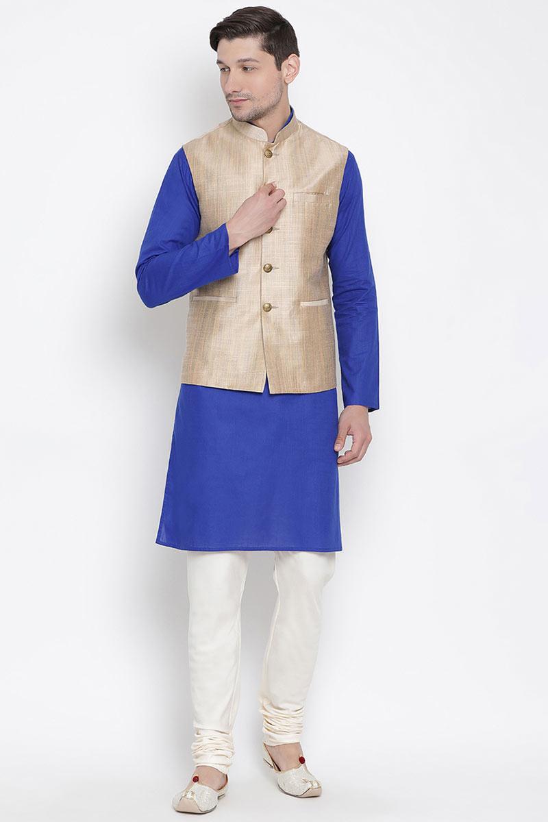 Festive Wear Blue Color Kurta Pyjama In Cotton Fabric For Men With Designer Jacket