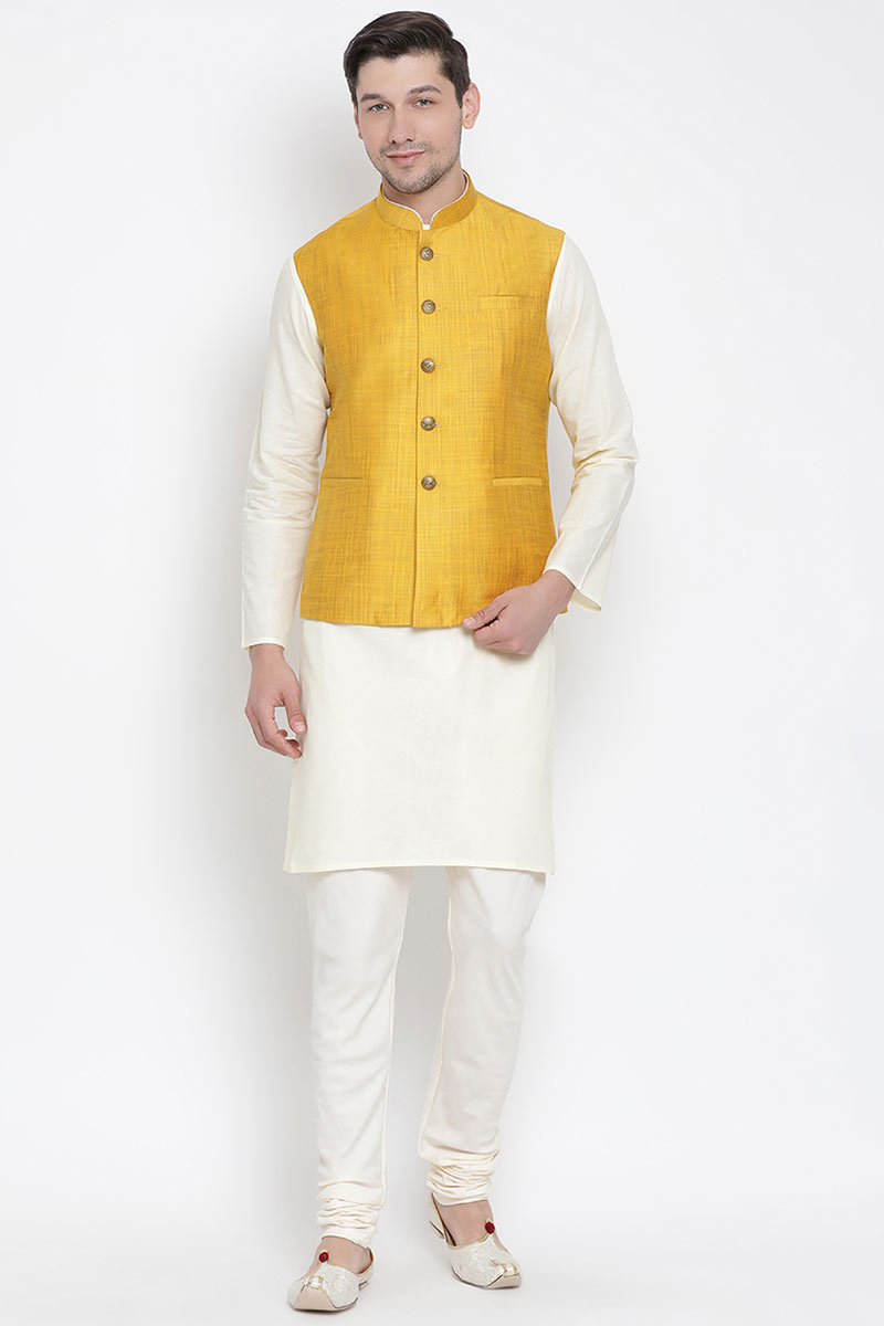 Embroidered Fancy Cotton Fabric Mens Kurta Pyjama In White With Fancy Jacket