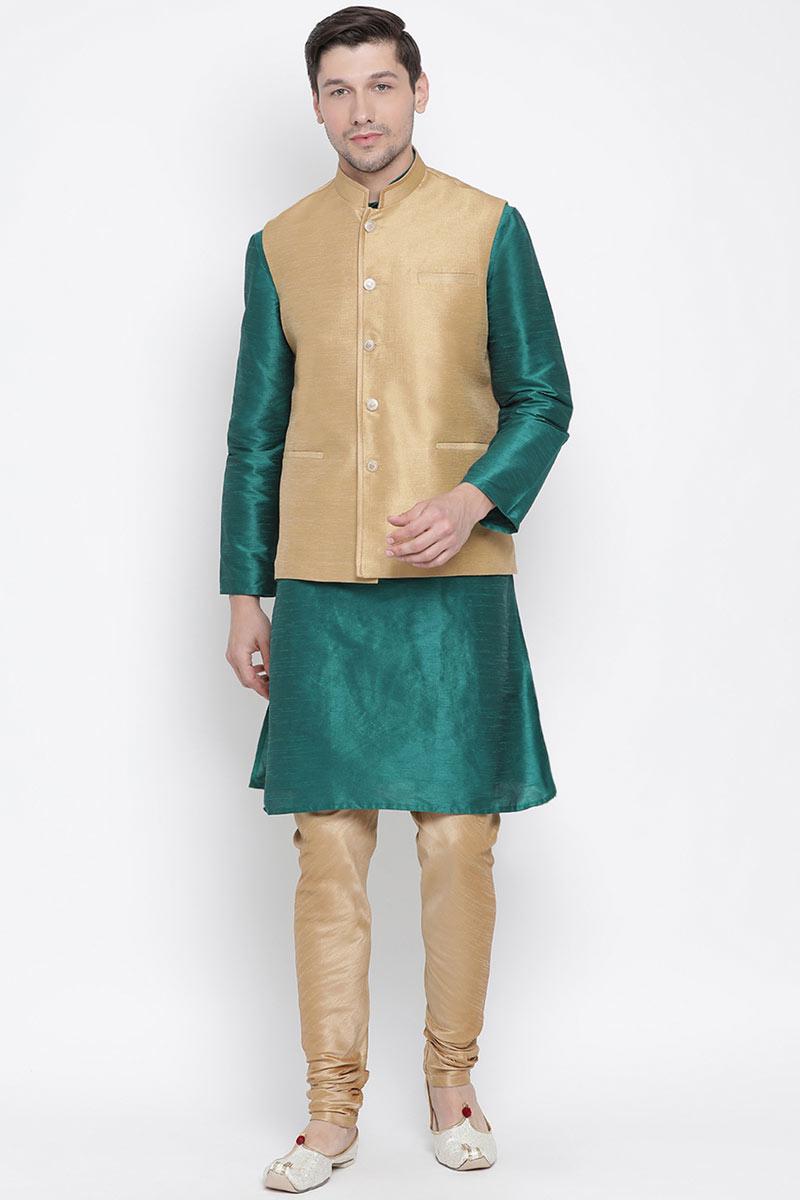 Teal Cotton Silk Fabric Party Wear Kurta Pyjama For Men With Fancy Jacket