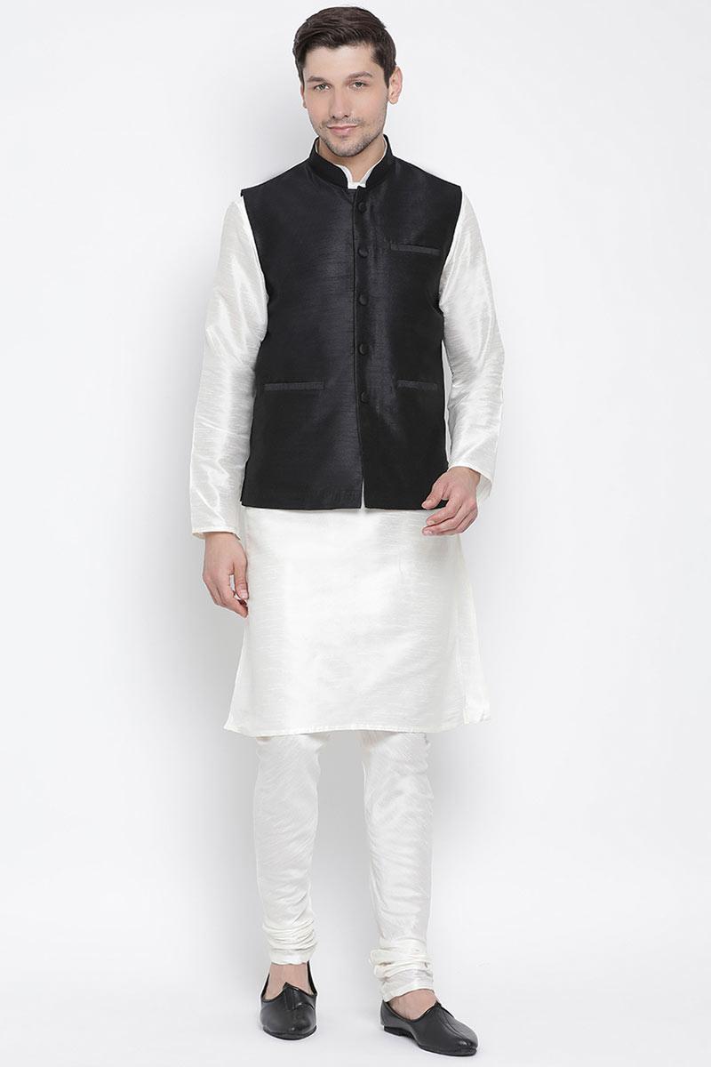 Function Wear Mens Fancy Kurta Pyjama In White Color With Nehru Jacket