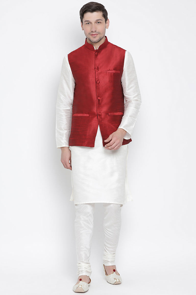 Mens Function Wear Cotton Silk Fabric Kurta Pyjama In White With Nehru Jacket