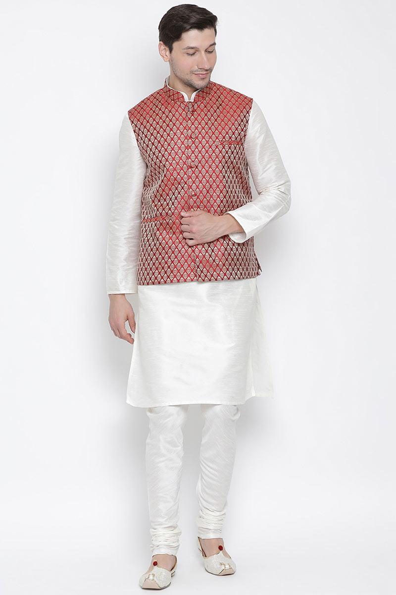Cotton Silk Fabric Party Wear White Ethnic Kurta For Men With Modi Jacket