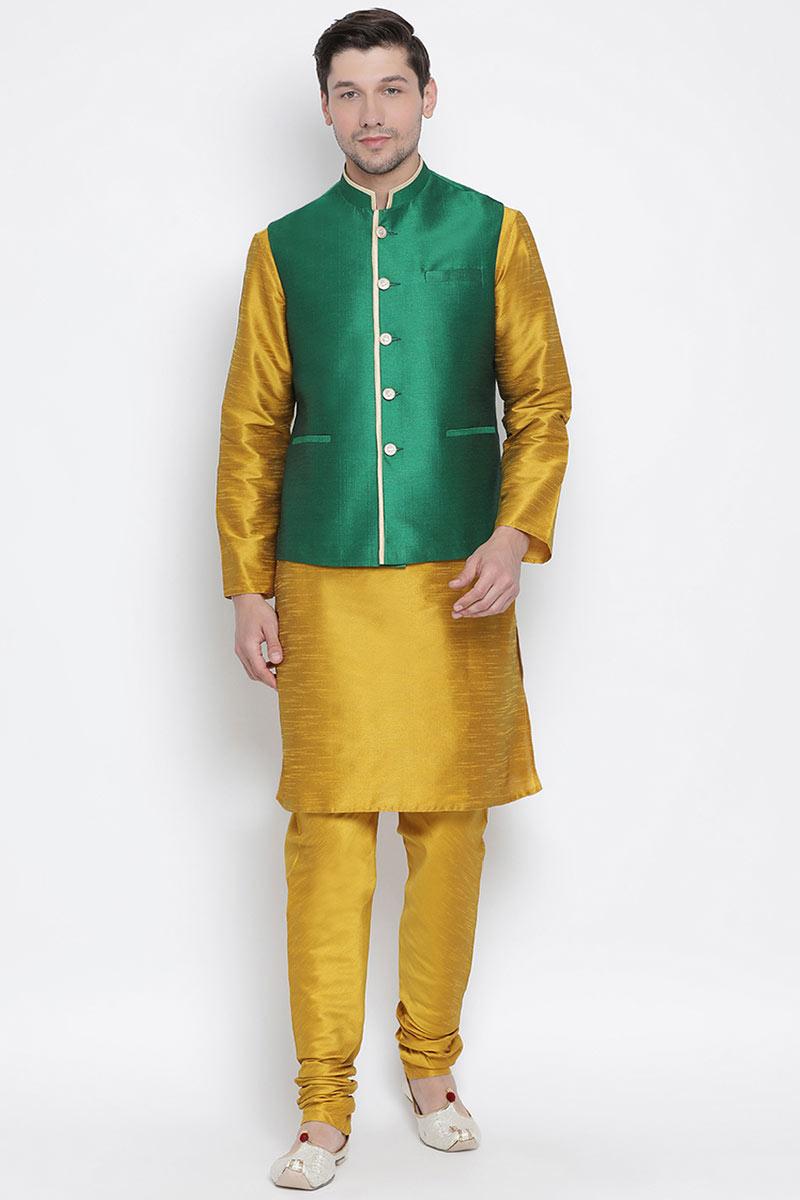 Designer Mens Kurta Pyjama With Jacket In Cotton Silk Fabric Mustard