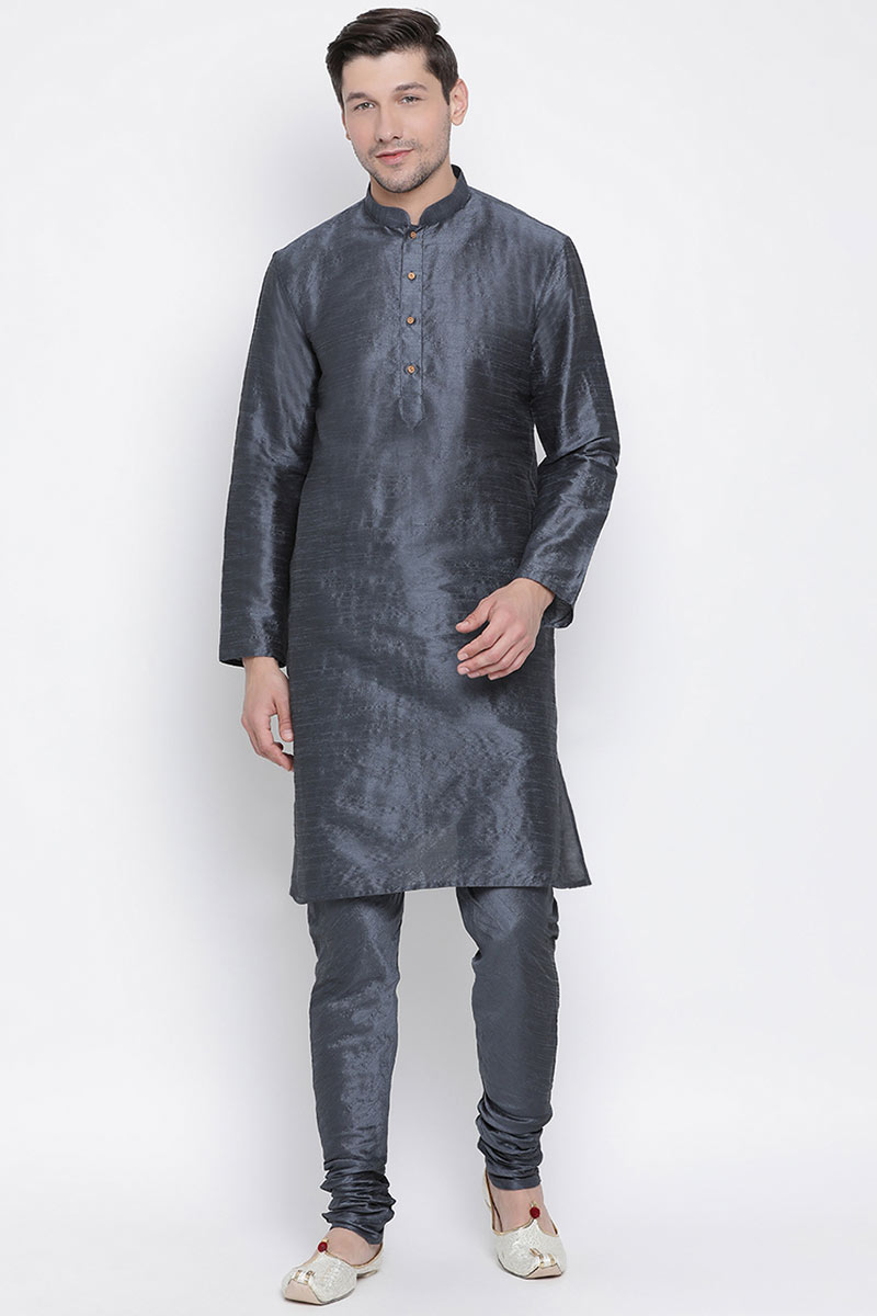 Cotton Silk Fabric Designer Kurta Pyjama For Men In Black