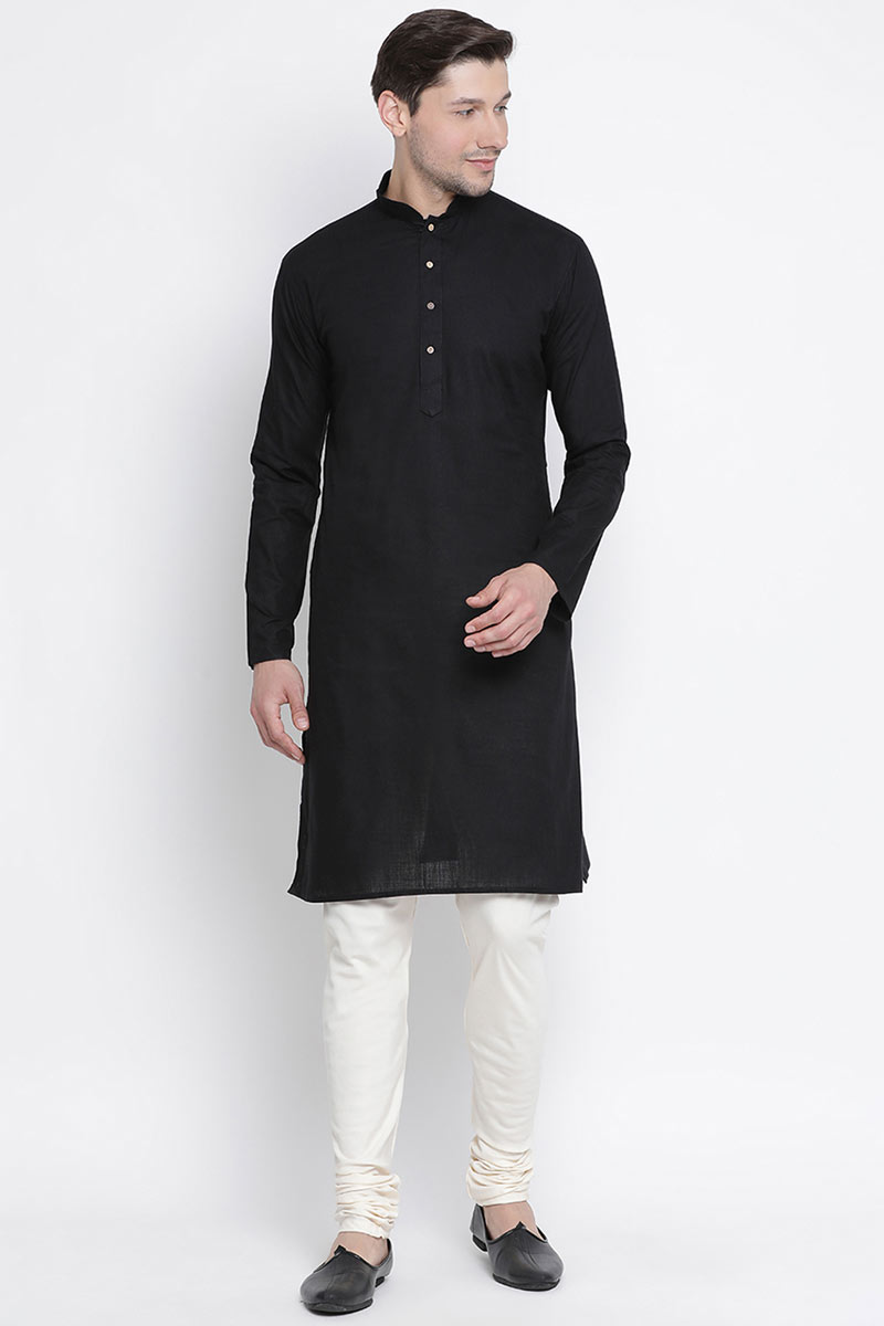 Festive Wear Cotton Fabric Kurta Pyjama In Black For Men