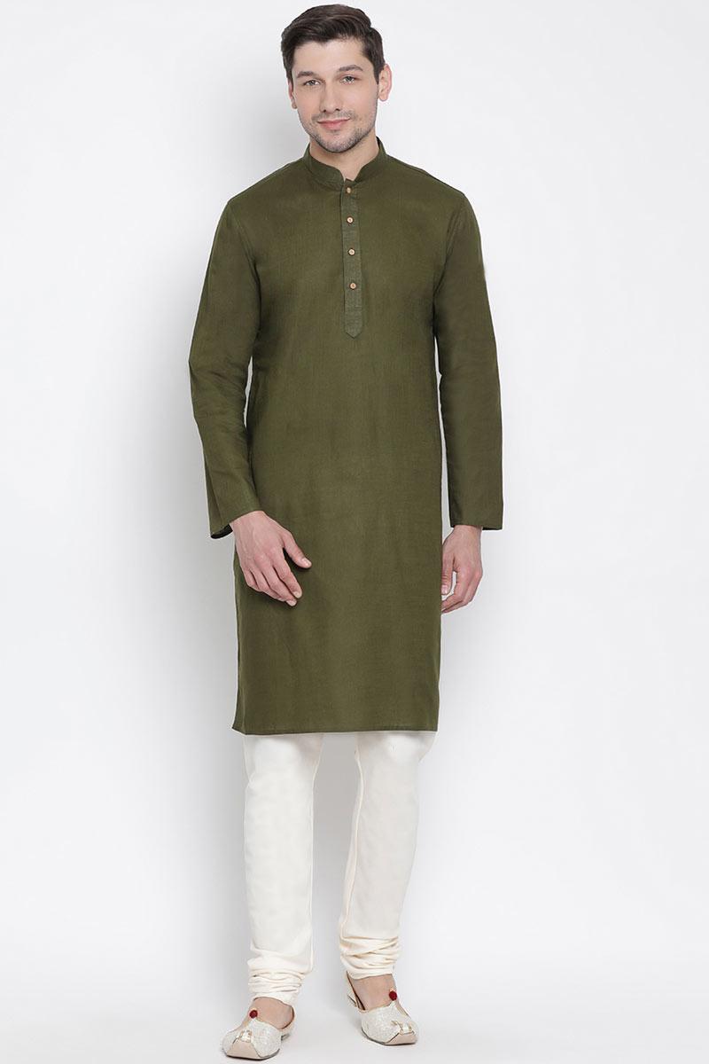 Festive Wear Green Mens Kurta Pyjama In Cotton Fabric