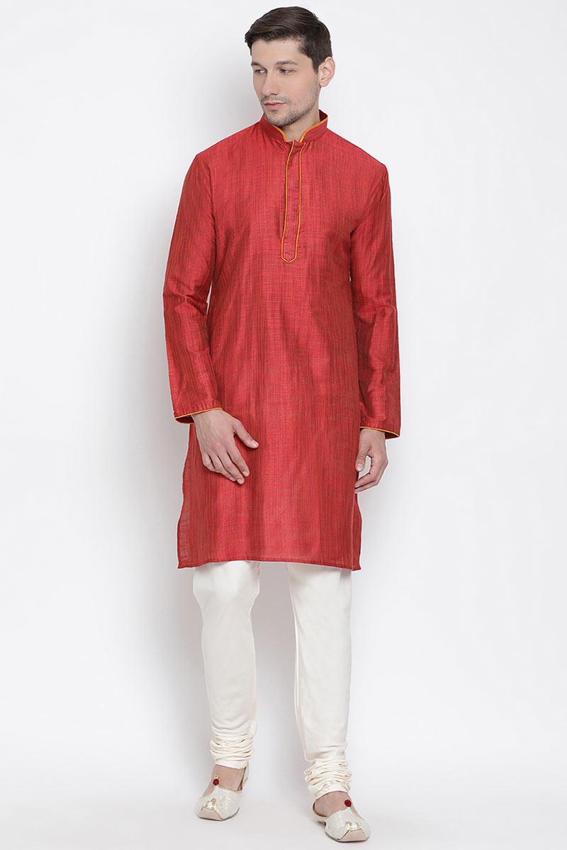 Red Cotton Fabric Mens Kurta Pyjama